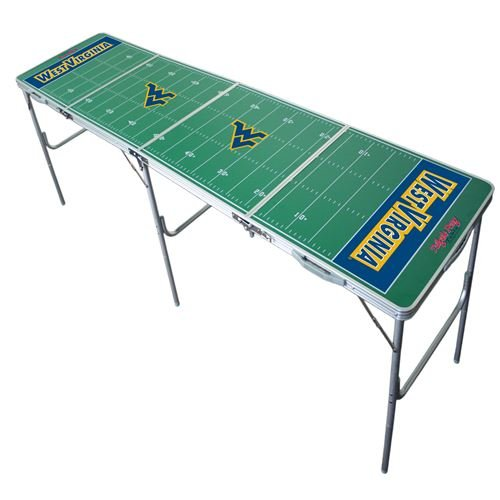 West Virginia Mountaineers Tailgate Table, NCAA Football Tailgating, 2x8, 8ft, Aluminum, Lightweight, Portable