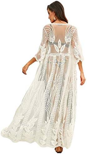 Women's Lace Swimsuit Cover Beach Kimono Cardigan Maxi Beach Dress.