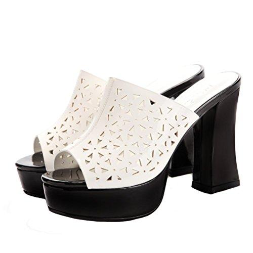 DUNHU Womens Peep Toe Mules Chunky High Heel Slide Sandal White rVGndq