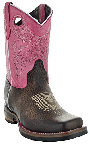 Soto Boot's K3005 Girls Two-Toned Broad Square Toe Boots (10, Pink)