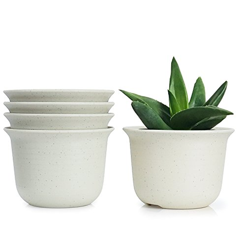 (Greenaholics Plant Pots - 5.9 Inch Plastic Nursery Pots Perfect for Flowers, Succulents, Seed Nurture, Set of 5, No Saucer, Marble White)
