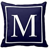 UOOPOO Monogram M on Navy Blue Pillow Cover Square 18x18 Inches Polyester Throw Pillow Case Decor Cushion Covers
