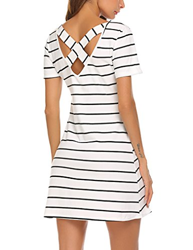 Feager Women's O Neck Striped Loose Criss Cross Back T-Shirt Dress White, S