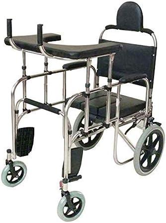 Andador Andador con Asiento Inodoro Junto a la Cama Entrenamiento de rehabilitación para Caminar Ayuda para la Movilidad para Adultos Personas Mayores Ancianos