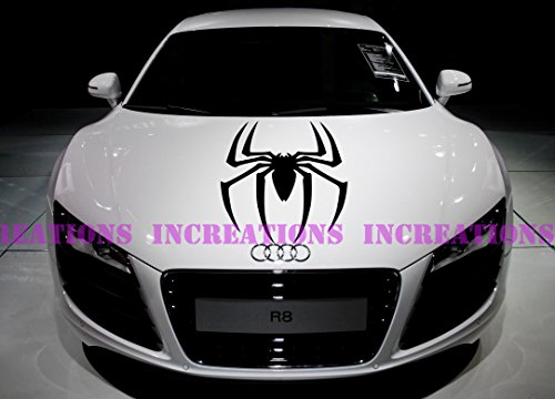 Black Widow Spider Spiderman Hood Stripe Any Car Decals Stickers Racing Graphic (Red) (Black Widow Mustang)
