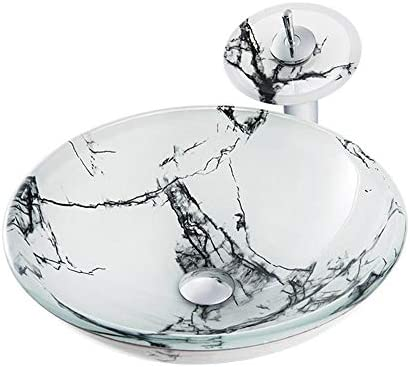 洗面ボウル 霜降り柄強化ガラスラウンド容器シンク滝の蛇口、ポップアップドレインセット 浴室の台所の流し (Color : White, Size : 42x42x14.5cm)