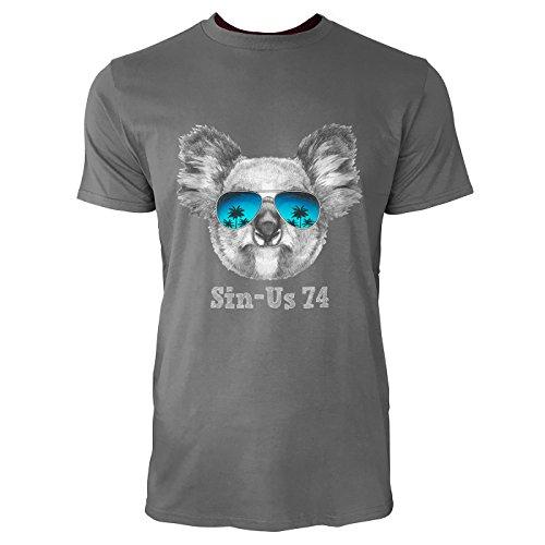 SINUS ART® Koalabärkopf mit Sonnenbrille Herren T-Shirts in Grau Charocoal Fun Shirt mit tollen Aufdruck
