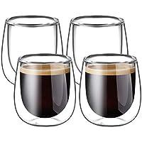 Glastal 120ml*4 Tazas de Café de Cristal,Vasos de Espresso de Doble Pared Transparente,Tazas de Vidrio Borosilicato para…