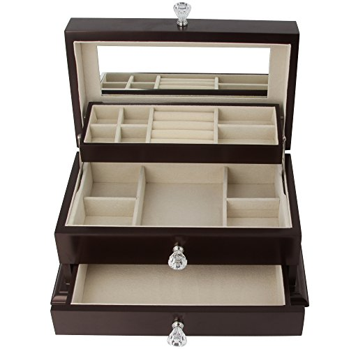 Real Natural Hardwood Wooden Jewelry Box (1-ZH-WJC3BK) by Kendal (Image #2)