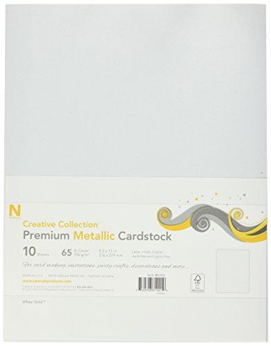 neenah-paper-5-lb-neenah-premium-metallic-cover-cardstock-10-pack-85-by-11-white-gold