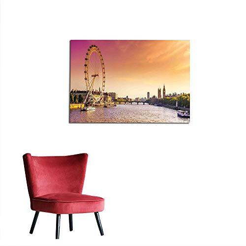 (kungfu Decoration Art Decor Decals Stickers London,Sunset View Bridge on Thames River Ferris Wheel London Eye Big Ben Westminster,Peach and Pink Cool Poster W35.4 x L23.6)