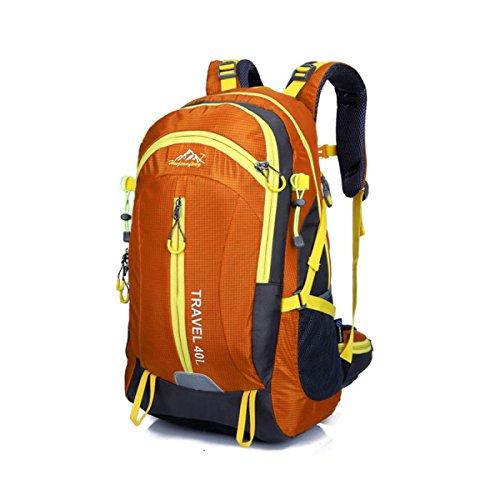LQABW Viaje Aire Libre Paquete Mujeres 40L Del Alpinismo Litros Profesional Bolsa De Hombro Impermeable Y Transpirable Hombres Mochila De Viaje,Blue Orange