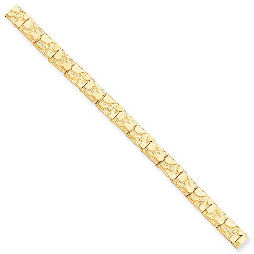 Solid 10k Yellow Gold 7.0mm NUGGET Bracelet 8