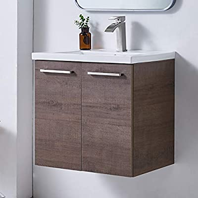 "Ufaucet Modern 21"" Dark Brown Wood Grain Wall-Mounted Bathroom Vanity, Single 2-Door Bathroom Sink Cabinet Combo Set with Ceramic Vessel Sink - Eco-Friendly construction:MDF wood board and melamine finish. Dimensions:23.6*20.9*18.1 in. Vessal sink Size: 24*18.3*6.7 in.Shipped in two separate packages. Wall-mounted design is the best way to save your bathroom space, and avoid hygienic dead angle on the floor. - kitchen-dining-room-furniture, kitchen-dining-room, kitchen-dining-room-chairs - 41Ry6%2Bp%2BSnL. SS400  -"