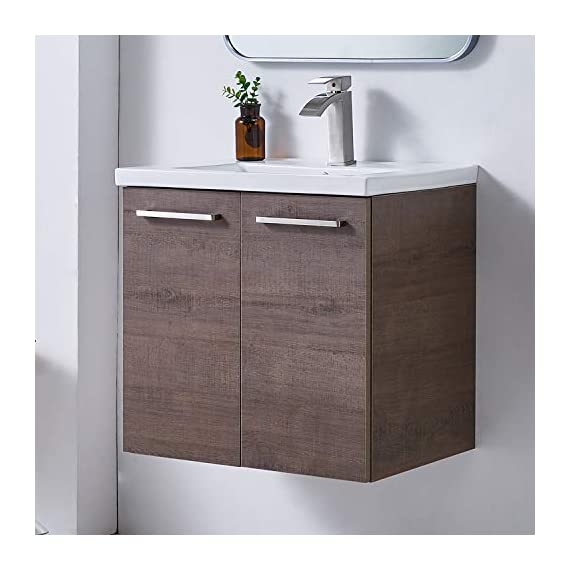 """Ufaucet Modern 21"""" Dark Brown Wood Grain Wall-Mounted Bathroom Vanity, Single 2-Door Bathroom Sink Cabinet Combo Set with Ceramic Vessel Sink - Eco-Friendly construction:MDF wood board and melamine finish. Dimensions:23.6*20.9*18.1 in. Vessal sink Size: 24*18.3*6.7 in.Shipped in two separate packages. Wall-mounted design is the best way to save your bathroom space, and avoid hygienic dead angle on the floor. - kitchen-dining-room-furniture, kitchen-dining-room, kitchen-dining-room-chairs - 41Ry6%2Bp%2BSnL. SS570  -"""