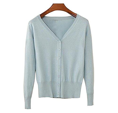 Longue Femme Col Boutons Casual avec Gris Cardigans Cardigan Tricot Pull Bleu Manche Chandail Winfon V Gilet vEwIqzA
