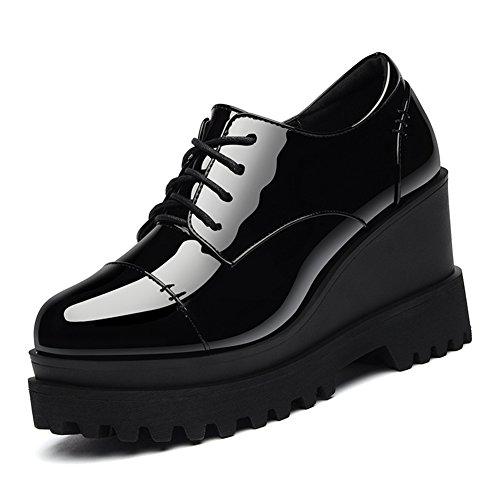U-MAC Women Anti-slip Sneakers Round Toe Platform Thicker Bottom Casual Shoes Black