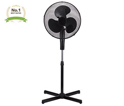 Black 16'' High Velocity Fan 3-Speed Oscillating Standing Floor Adjustable Height - New Modern Design by LavoHome
