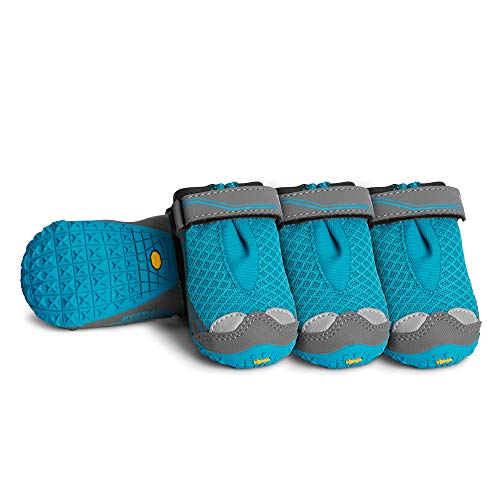RUFFWEAR - Grip Trex Outdoor Dog Boots with Rubber Soles for Hiking and Running, Blue Spring, 2.25 in (4 Boots)