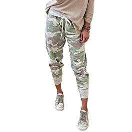 Acelitt Women Casual Drawstring Elastic Waist Jogging Jogger Pants with Pockets,S-XL