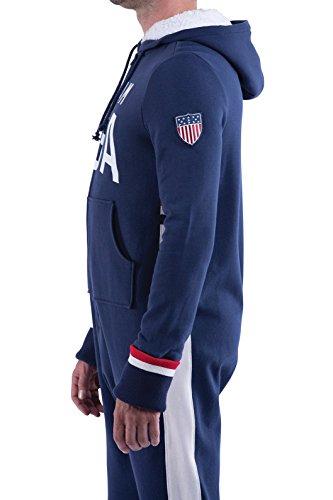 PajamaGram Team USA Hooded Onesie Footed Pajamas For Men, Navy Blue, Med