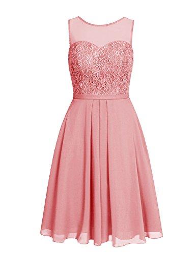 Line Chiffon ASBridal Open Homecoming Pink Short Lace Prom Dresses Dress A Back 8qwf15qB