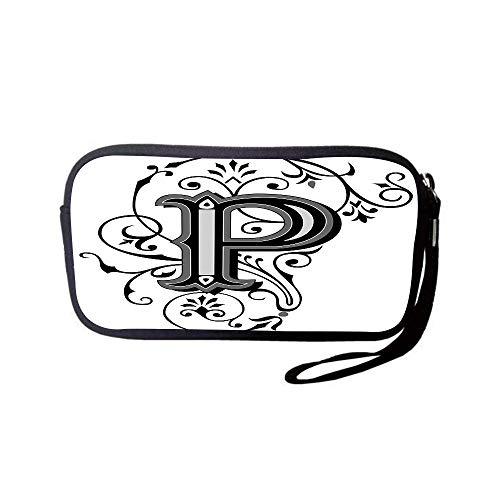 (iPrint Neoprene Wristlet Wallet Bag,Coin Pouch,Letter P,Floral Swirls Essence Blooms Letters Baroque Inspired Initials Design Print Decorative,Black Grey White,for Women and)