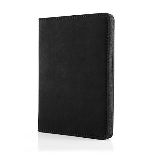 SURAZO Leder Geschenkset Handy Schutzhülle, Geldbörse, Schlüsselring - Farbe Schwarz Vintage Kollektion für Huawei P9 (5,20 Zoll)