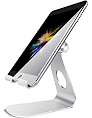 Tablet Stand Adjustable, Lamicall Tablet Holder : Desktop Holder Dock Compatible with new iPad 2020 Pro 9.7/10.5/11/12.9, Air mini 2 3 4, Kindle, Nexus, Accessories, E-reader, Tab (4-13 inch) - Silver