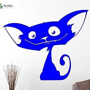 yaoxingfu Vinilo Tatuajes de Pared Divertido Gato de Dibujos ...