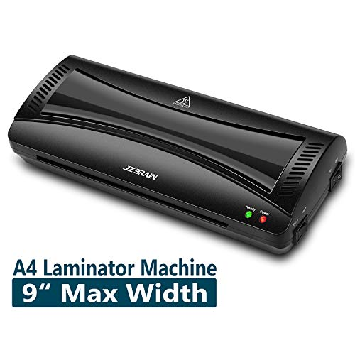 JZBRAIN Laminating Machine, Laminator Machine A4 Maxinmum, Quick Warm-up, Hot & Cold Fast Lamination (Black)