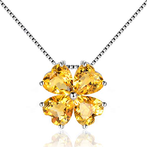 JiangXin Birthstone Platinum Plated Pendant Necklace for Women Lucky Four-leaf-clover 925 Sterling Silver Fine Jewelry for Women Christmas Gift (Gold Leaf Citrine)