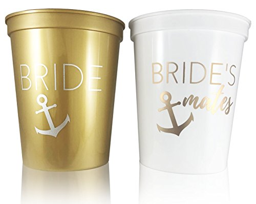 #glamist Bachelorette & Bridal Shower Nautical Theme Cups - White & Gold 16 oz Plastic Cup Set for Weddings & Engagement Parties. Get Nauti!