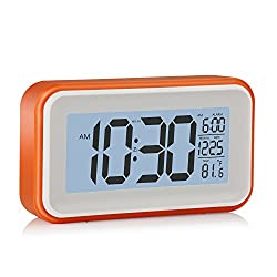 Smart Backlight Alarm Clock - Touch to Snooze Alarm, Temperature Clock, Dimmable Digital Alarm Clock with Large LCD Screen - Electronic Alarm Clock by Handy Picks (Orange)