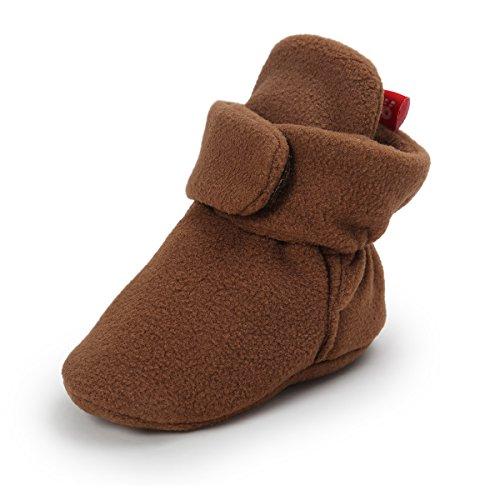 Isbasic Unisex Baby Fleece Lined Bootie Non-Skid Infant Winter Shoes (6-12 months, dark ()