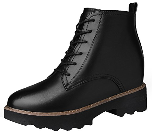 Women's Round Toe Flat Brogue Martin Boots London Ankle Boots Black - 2