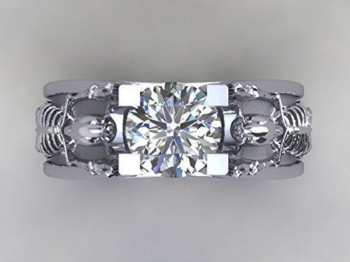 Skull Engagement Ring made in 14k White Gold with White Diamonds- UDINC0333
