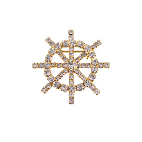 Rhinestone Encrusted Ship Wheel Pin Pendant