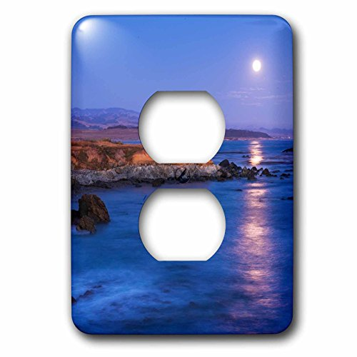 3dRose Danita Delimont - Oceans - Full moon shining on the ocean, San Simeon, California - Light Switch Covers - 2 plug outlet cover (lsp_278640_6) (San Simeon Light Two)