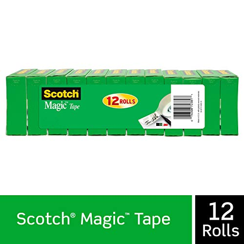 Scotch Brand Magic Tape, Numerous Applications, Matte Finish, Engineered for Office and Home Use, Great for Gift Wrapping, 3/4 x 1000 Inches, Boxed, 12 Rolls (810K12)