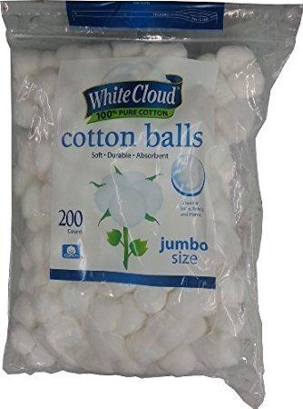 White Cloud Cotton Balls, Jumbo Size, 100% Pure Cotton, (Cloud Ball)