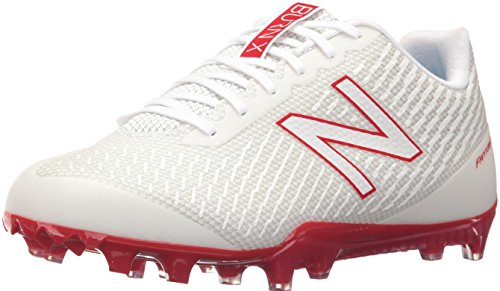 New Balance Men's Burn Low Speed Lacrosse Shoe, White/Red, 7.5 D US by New Balance