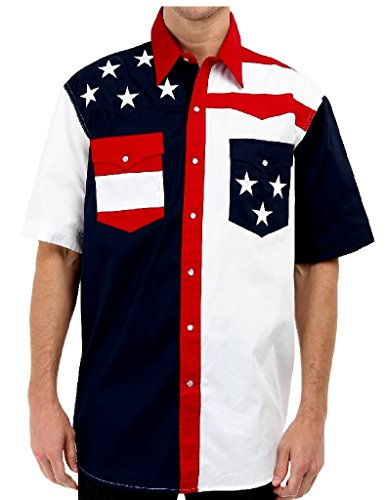 Roper Men's S/S Pieced Stars and Stripes Patriotic Blue Button-up Shirt MD ()