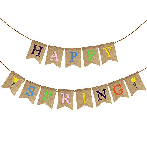 (Supla 12.4 Feet Long Happy Spring Letters and Tulip Banner Rustic Burlap Flag Banner Hanging Spring Bunting Garland for Springtime Easter Seasonal Decoration(NO DIY))