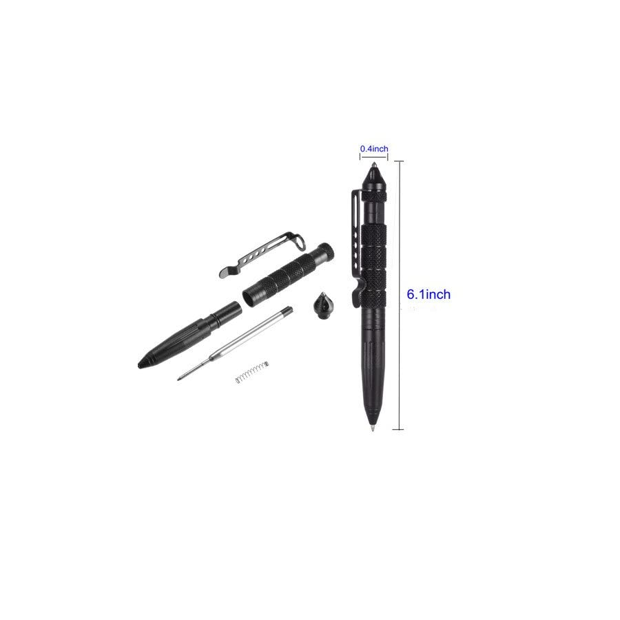 AISHN Tactical Pen with 3 ink refill, Glass Breaker, Aircraft Aluminum Material Self defense Weapon, Precision Writing, Fingerprinting Collector, Multi Functional Survial Tool (Black)