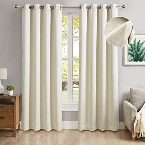 Cheap MODERNOVIA Cream 52×96 Inch Blackout Curtain Grommet Solid Glitter Shiny Drape window curtain panel for sale