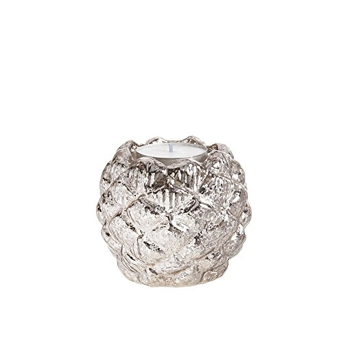 Cypress Home 8CHG129 Pinecone Mercury Glass Candle Holder Silver
