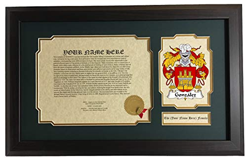 González - Coat of Arms and Last Name History, 14x22 Inches Matted and Framed ()