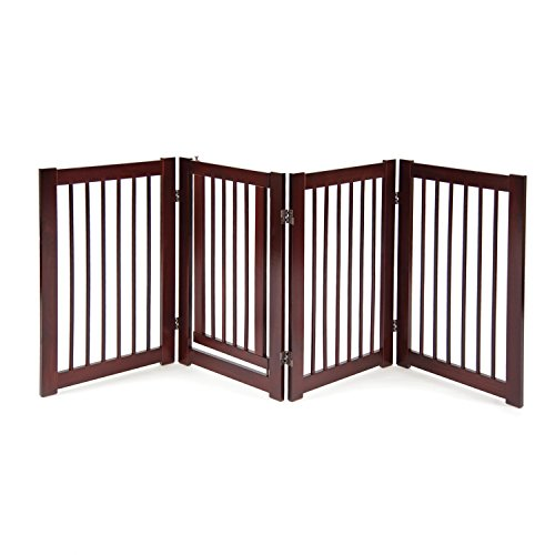 Folding Pet Gate - Primetime Petz 360 Configurable Dog Gate with Door - Indoor Freestanding Walk Through Wood Pet Gate