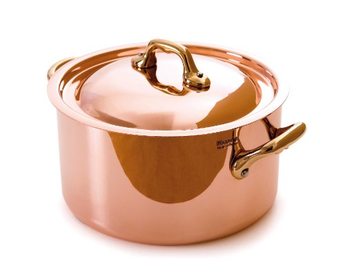 Mauviel Made In France M'Heritage Copper M150B 6522.24 5.2-Quart Round Casserole with Lid, Bronze Handles